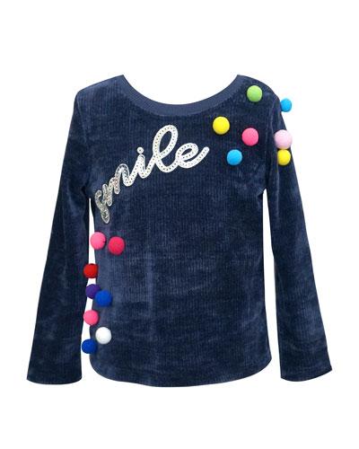 Girl's Smile Pompom Top  Size 4-6X
