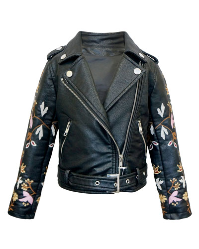 Girl's Faux Leather Floral Embroidery Jacket  Size 7-14