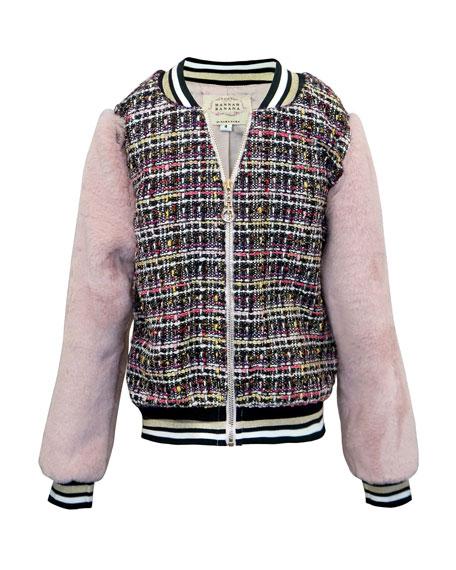 Hannah Banana Girl's Tweed & Faux Fur Bomber Jacket, Size 4-6X