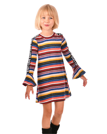 Hannah Banana Girl's Striped Long-Sleeve Dress w/ Love Ribbon Trim, Size 4-6X