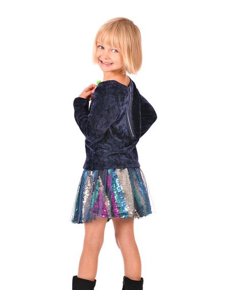 Hannah Banana Girl's Sequined Tulle Overlay Skirt, Size 4-6X