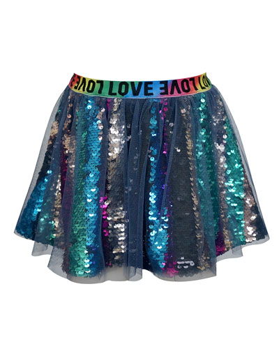 Girl's Sequined Tulle Overlay Skirt  Size 4-6X