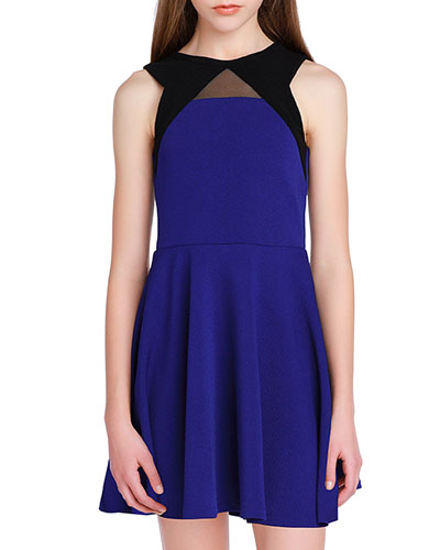 Girl's The Carly Mesh Trim Two-Tone Dress, Size S-XL