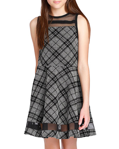 Girl's The Emerson Check Mesh Trim Dress, Size S-XL