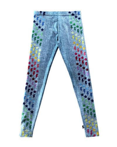 Girl's Blue Jeans Print Stars & Lighting Bolt Leggings  Size S-XL