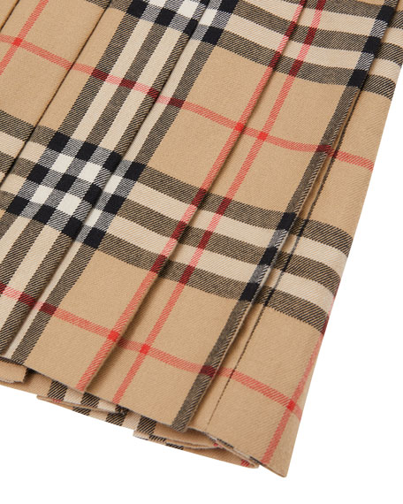 Burberry Girl's Melania Flannel Check Dress, Size 3-14