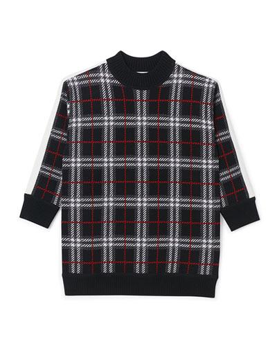 Girl's Kristin Check Intarsia Sweater Dress, Size 3-14