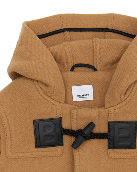 Burberry Girl's Braydon Duffel Coat w/ Leather Logo Patches, Size 4-14