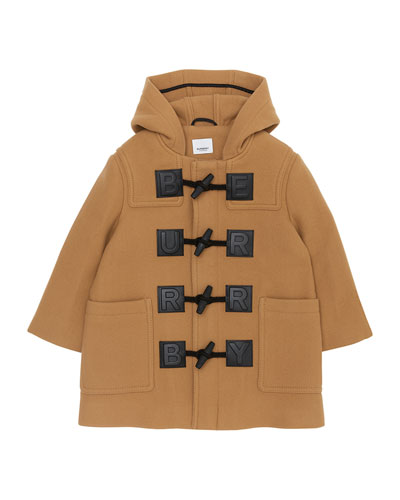 Girl's Braydon Duffel Coat w/ Leather Logo Patches, Size 4-14