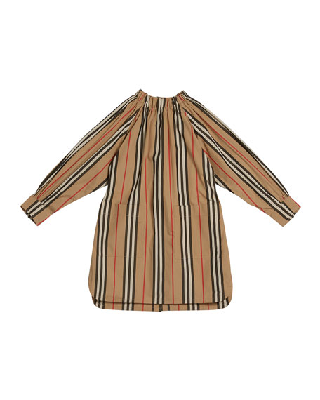 Burberry Girl's Melody Icon Stripe Shirt Dress, Size 3-14