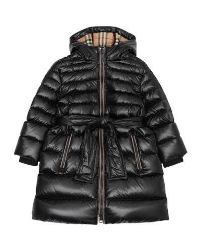 Girl's Sharona Long Puffer Coat, Size 3-14