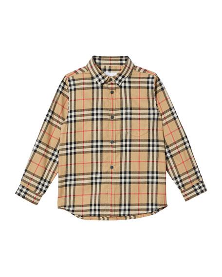 Burberry Boy's Fredrick Check Flannel Shirt, Size 3-14