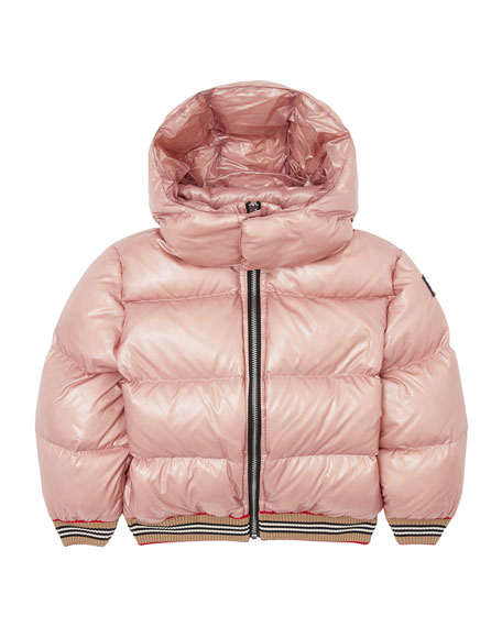 Burberry Girl's Josiah Short Puffer Coat w/ Icon Stripe Trim, Size 3-14