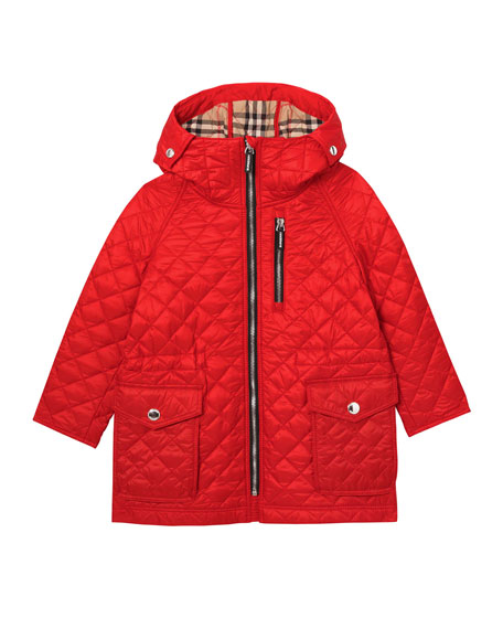 Burberry Boy's Trey Long Quilted Hooded Coat, Size 3-14
