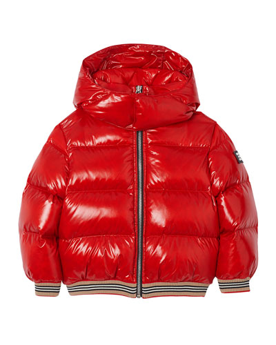 Girl's Josiah Short Puffer Coat w/ Icon Stripe Trim, Size 3-14