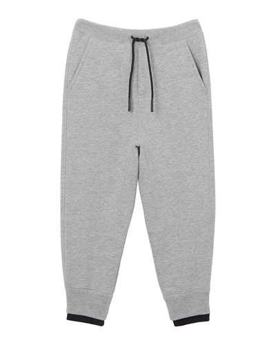 Boy's Double Ribbed Logo Patch Sweatpants  Size 3-14