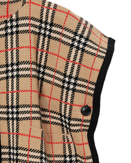 Burberry Kid's Hooded Check Cape, Size M-L