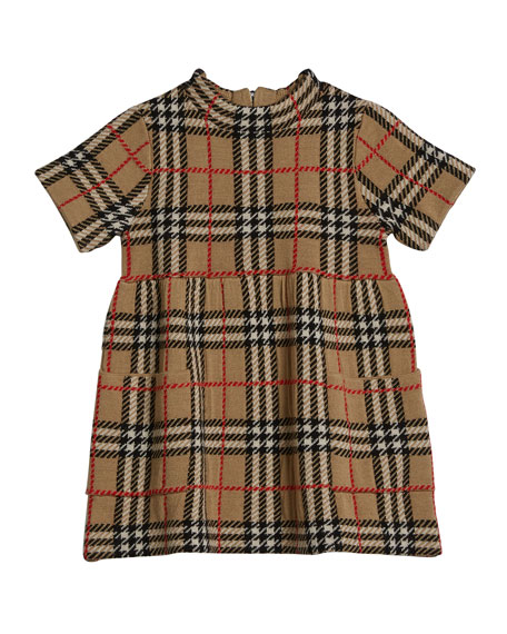 Burberry Girl's Mandy Wool Knit Check Dress, Size 12M-2