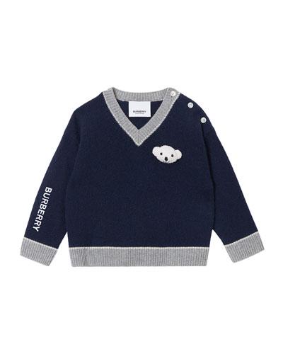 Boy's Sidney Teddy Bear V-Neck Sweater, Size 6M-2