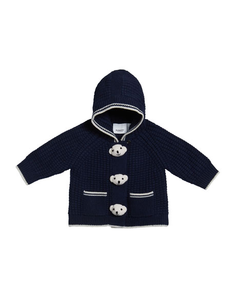 Image 1 of 2: Boy's Knit Teddy Bear Jacket, Size 3-18 Months
