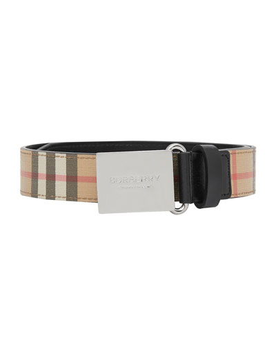 Kid's Check Belt w/ Logo Plaque Buckle
