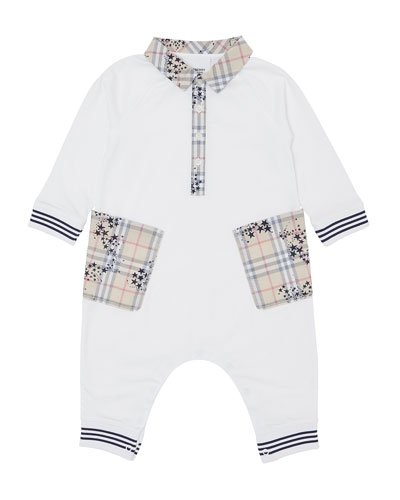 Boy's Anton Spread Collar Coverall w/ Check Star Print Trim, Size 3-18 Months