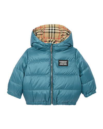 Boy's Rayan Check Reversible Puffer Coat, Size 12M-2