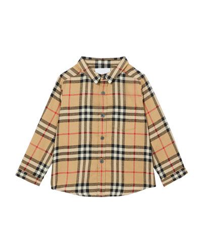 Boy's Fredrick Check Flannel Shirt, Size 6M-2