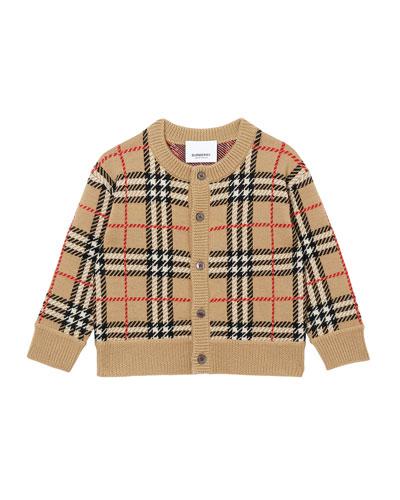 Boy's Edie Merino Wool Check Cardigan  Size 12M-2