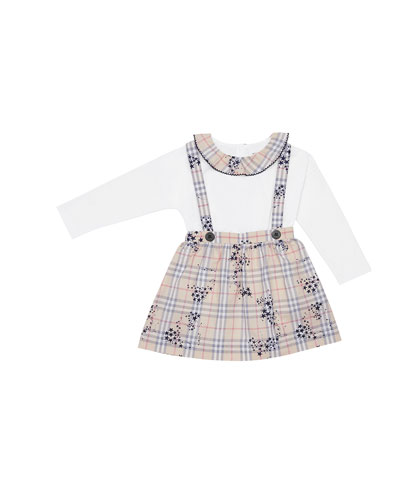 Girl's Sofia Check Star Print Suspenders Skirt w/ Matching Bodysuit, Size 3-18 Months