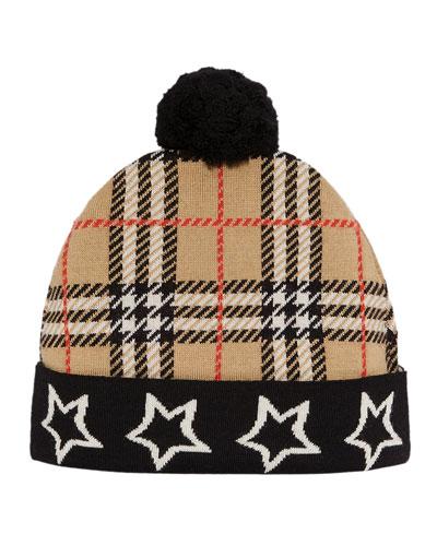 Kid's Check & Stars Knit Beanie Hat