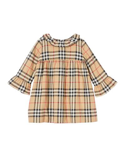 Girl's Ruffle Collar Check Dress, Size 12M-2