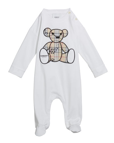 Boy's Check Bear Applique Footie Pajamas  Size 3-18 Months