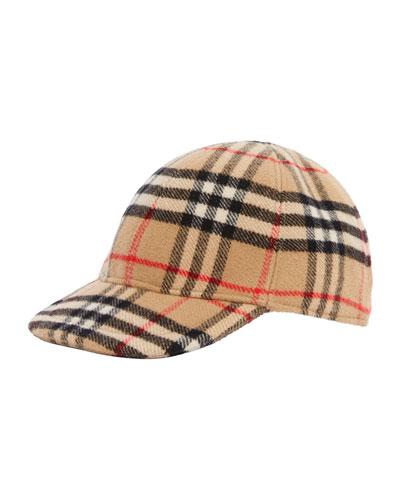 Kid's Wool Check Baseball Cap