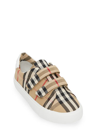Burberry Markham Check Grip-Strap Sneaker, Toddler/Youth Sizes 10T-4Y