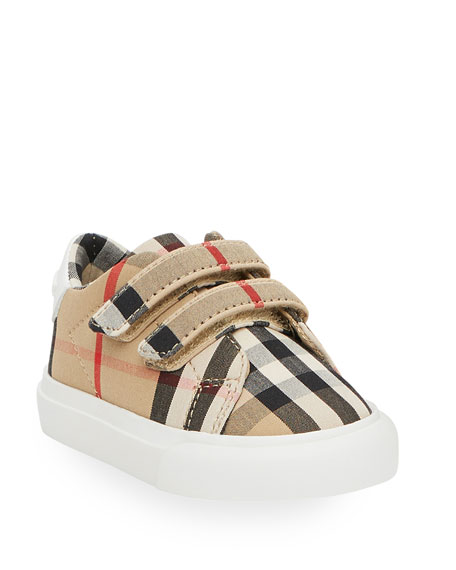Burberry Markham Check Grip-strap Sneaker, Toddler/youth Sizes 10t-4y In Beige