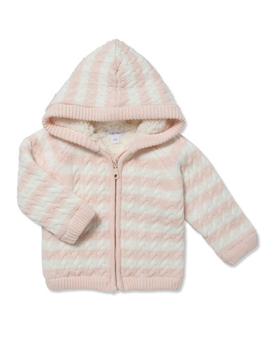 Striped Knit Sherpa Lined Hooded Jacket  Size 0-18 Months