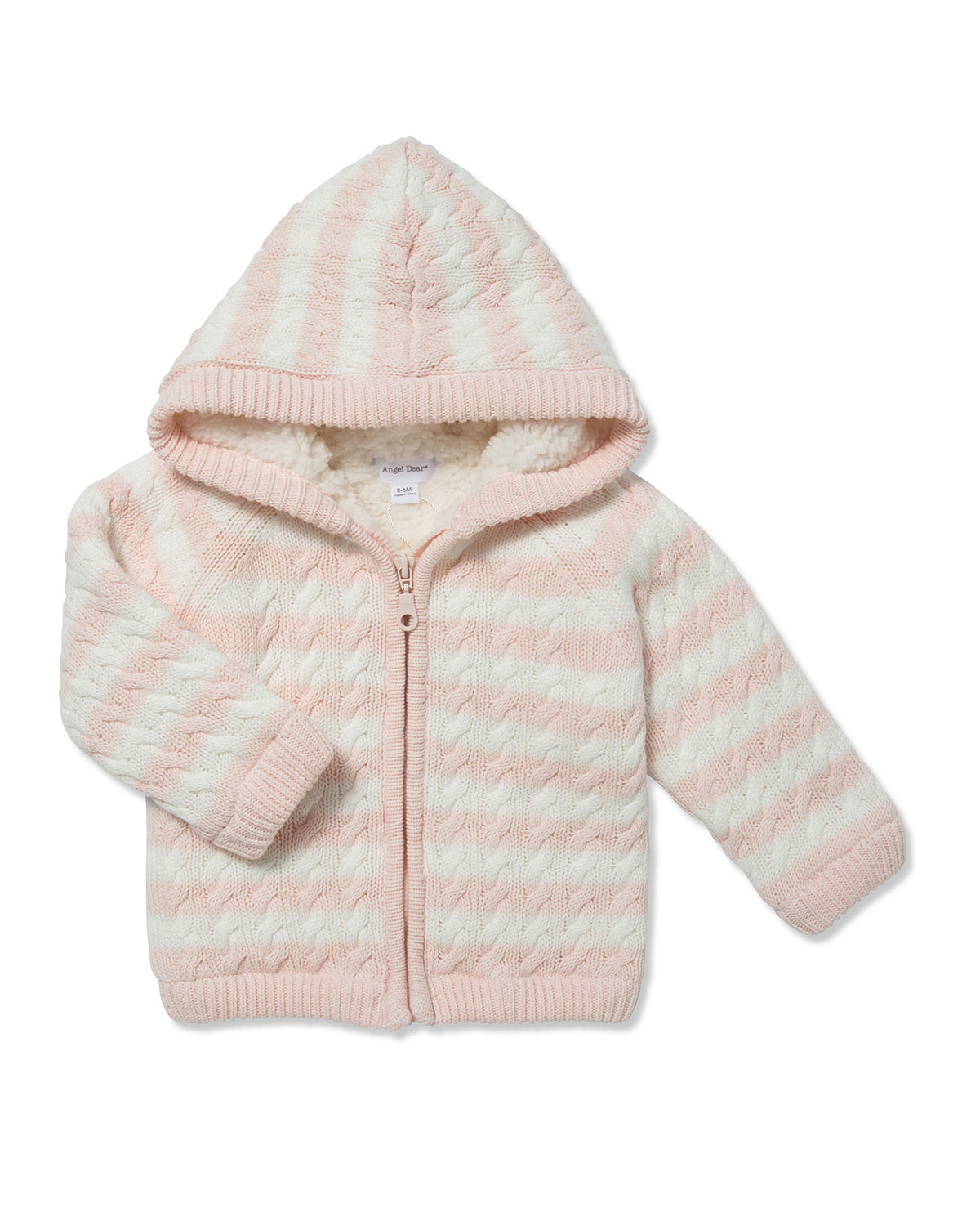 Angel Dear Striped Knit Sherpa Lined Hooded Jacket, Size 0-18 Months