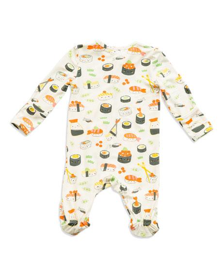 Angel Dear Sushi Print Zipper Footie Pajamas, Size Newborn-9 Months