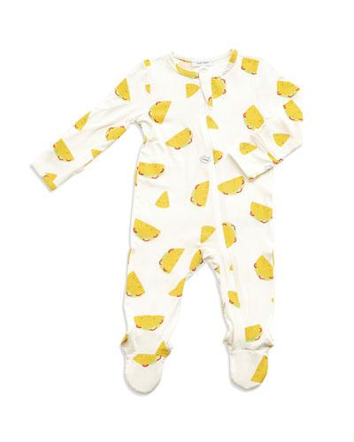 Tacos Print Zipper Footie Pajamas  Size Newborn-9 Months