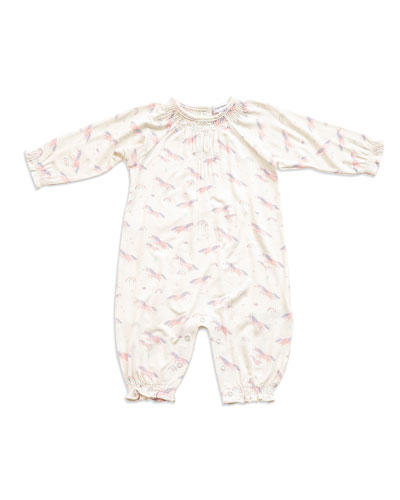 Cosmic Unicorn Printed Smocked Coverall  Size 0-12 Months