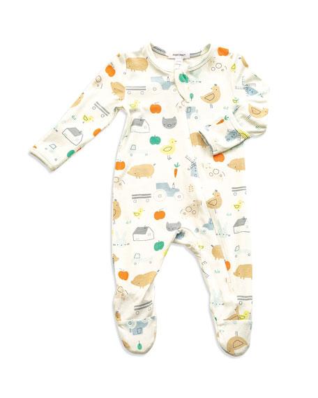 Angel Dear Little Farm Print Zipper Footie Pajamas, Size Newborn-9 Months
