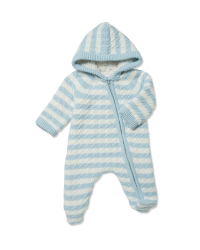 Striped Knit Sherpa Lined Hooded Footie Playsuit, Size 0-3 Months