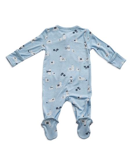 Angel Dear Llama Print Zipper Footie Pajamas, Size Newborn-9 Months