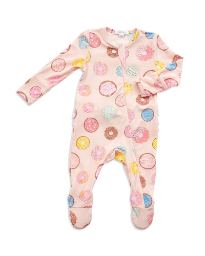 Donuts Print Zipper Footie Pajamas  Size Newborn-9 Months