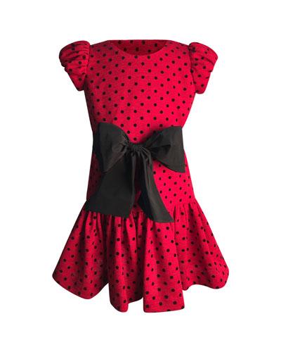 Girl's Polka-Dot Bow Dress, Size 2-6