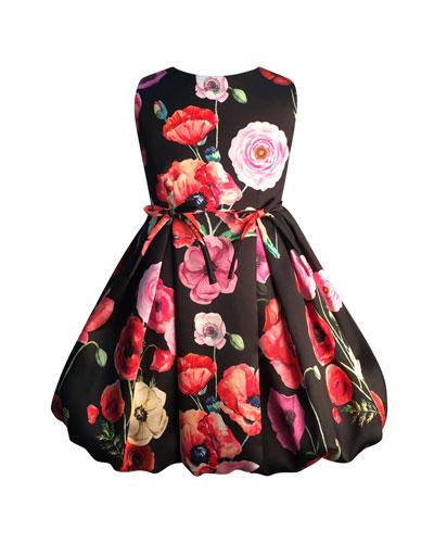 Girl's Floral Print Taffeta Dress, Size 7-14