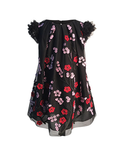 Girl's Floral Embroidered Tulle Dress, Size 7-14