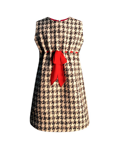 Girl's Houndstooth Sleeveless Belted Dress, Size 2-6