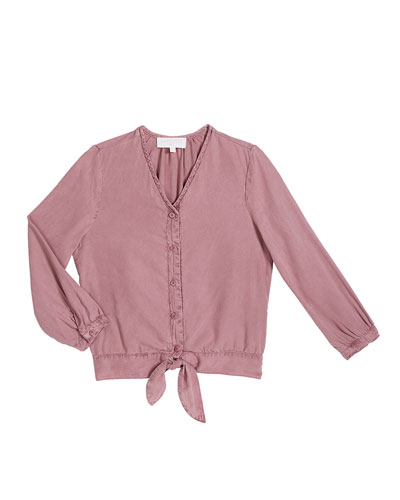 Girl's Tie Front Long-Sleeve Blouse, Size 8-14